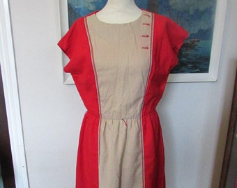 1980s two-tone red & taupe linen-mix day dress, size 14