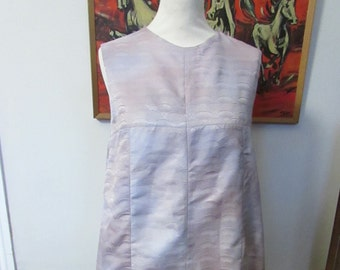 Handmade vintage style pearlescent effect scallop pattern shift dress, fully lined, size 8-10