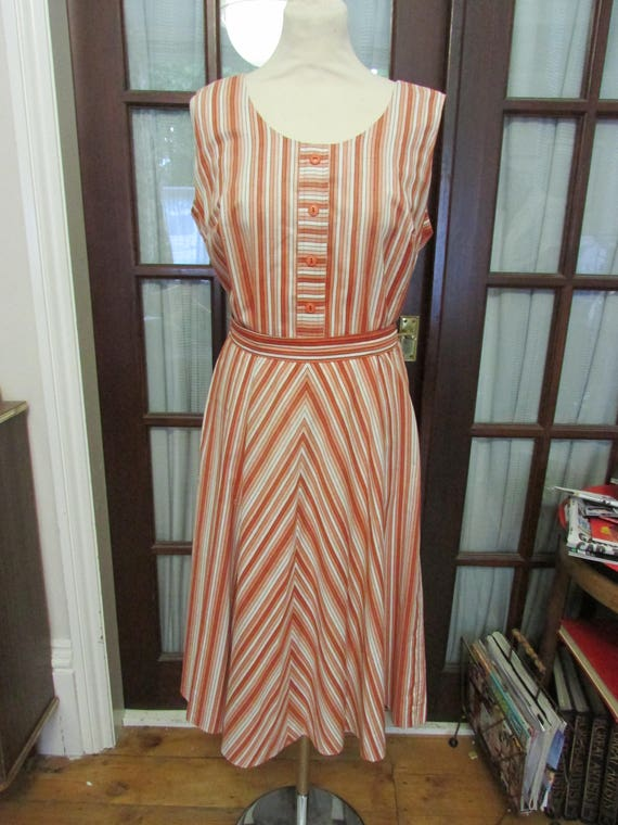 1960s Horrockses Fashions brown/orange tone stripe