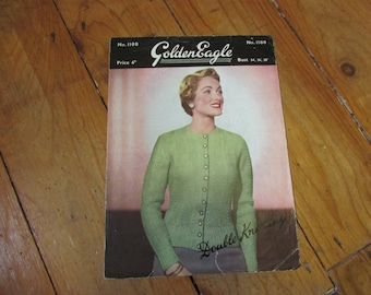 1950s GoldenEagle double knitting pattern for lady's cardigan