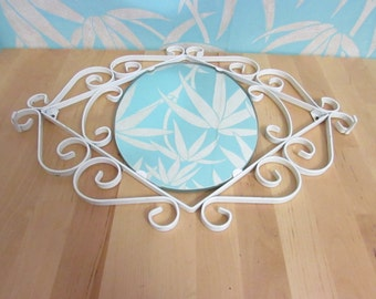 Vintage cast iron white scroll frame hall mirror with hooks