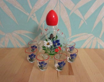 1960s/70s Innsbruck Austria hand-painted glass decanter set, original box