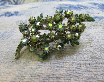 1940s cold painted green leaf & Aurora Borealis stone spray brooch