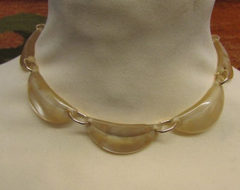 1950s Lucite curved panel necklace