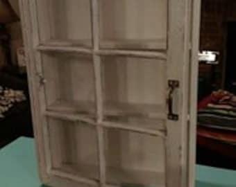 SALE Beautiful Distressed Window Cabinet   Cream Window Cabinet   Window  Shadow Box   Shadow Box Cabinet   Medicine Cabinet   Rustic Cabinet