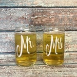 ON SALE Custom beer glasses - beer can glasses - gift for groomsmen - personalized groomsmen gifts - mr and mrs glasses - gift for the coupl