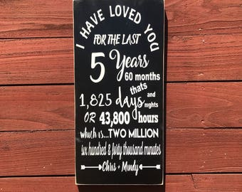 ON SALE 5 year anniversary sign - 5 year anniversary gift - wedding anniversary gift - 5 year wedding anniversary - wedding anniversary sign