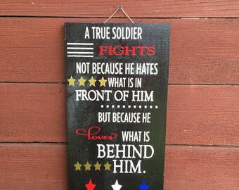 ON SALE Soldier Sign, military sign, military family, hero sign, military decor, distressed wood sign, true soldier sign