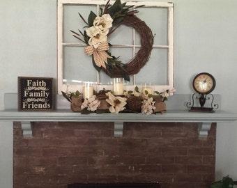 ON SALE Custom window - 6 pane window wreath hanger - wreath hanger - 6 or 8 pane window decor - shabby 6 pane window sash - six pane window