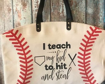 ON SALE Baseball bag - baseball purse - canvas softball bag - baseball tote bag - monogrammed bag - monogrammed baseball bag - custom beach