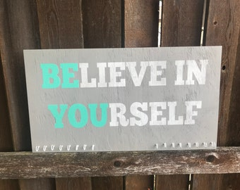 ON SALE Sports medal holder - motivational signs - gymnastics signs - believe in yourself - inspirational wood signs - running medal hanger