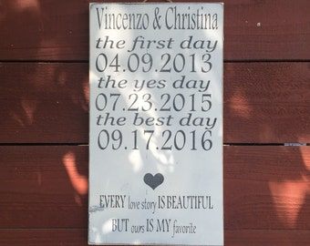 ON SALE distressed love story sign - every love story is beautiful but ours is my favorite - wedding sign - anniversary sign - bridal shower
