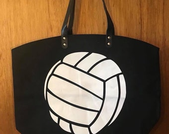 ON SALE volleyball bag - volleyball purse - canvas softball bag - volleyball tote bag - monogrammed bag - monogrammed baseball bag - custom