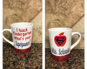 ON SALE Coffee mug for teacher - gift for teacher - kindergarten teacher gift - glitter mug - teacher appreciation gifts - custom coffee mug