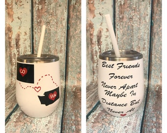 ON SALE Best friends wine glass - wine glass for mom - long distance friendship - best friends wine glasses - best friend gift - Mother's Da