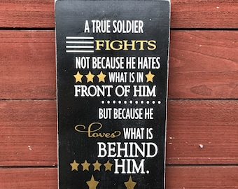 ON SALE military sign - military gift - military wall decor - soldier sign - hero sign - military retirement gift - true soldier sign