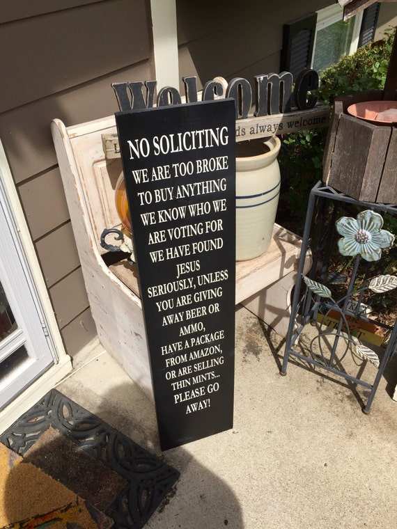 Sale No Soliciting Sign Funny Porch Signs Funny No Etsy
