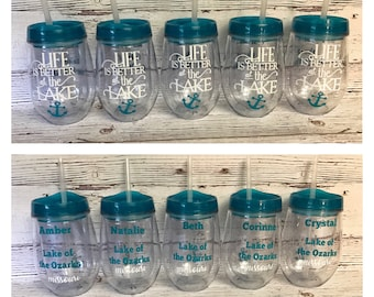 ON SALE Wine glass tumblers - lake drink ware - bachelorette party wine glasses - custom drink ware - custom wine glasses - wine glass for b