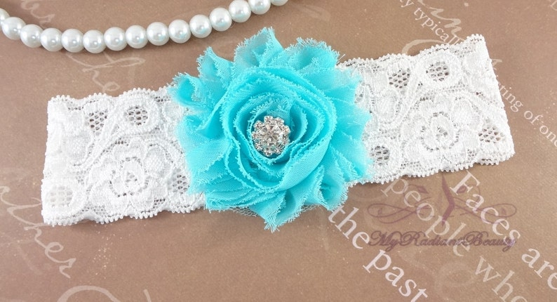 Shabby Rosette Gray and Blue Garter Garter set Lace Garter Set GTF0028AQ Garter Garter belt Bridal Garter Aqua Garter Wedding Garter