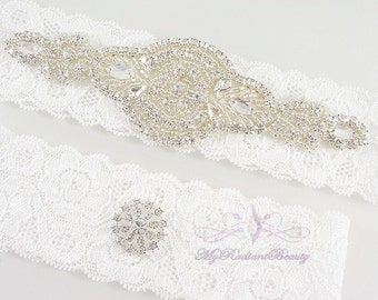 Bridal Garter, Wedding Garter, Garter, Crystal Applique Garter, Garter Set, Rhinestone Garter, Handmade Custom Garter, Beaded Garter GTA0025