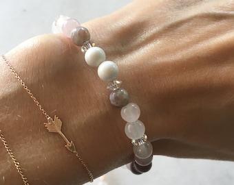 Rose Quartz, Howlite, Lepidolite, Clear Quartz + Swarovski Healing Bracelet - to help ground you