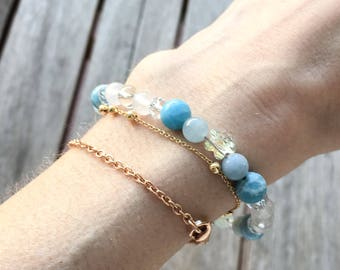 Larimar + Beryl Crystal Healing Bracelet - to help you find your voice