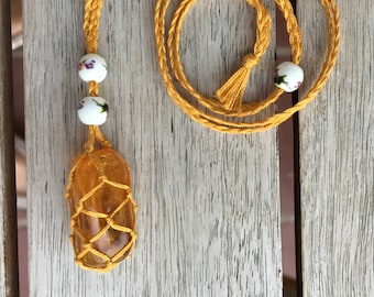 Genuine Baltic Amber macrame necklace - for healing and protection