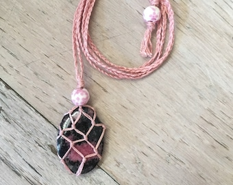 Rhodonite macrame necklace - repair and rescue for relationships and matters of the heart