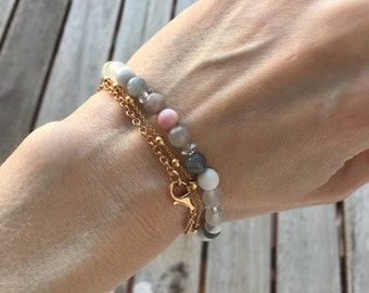 Lepidolite + Rhodonite Crystal Healing Bracelet - to help heal your heart