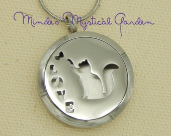 Aromatherapy pendant etsy love cat stainless steal aromatherapy diffuser locket aloadofball Gallery