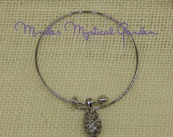 Essential oil Diffuser Bracelet Silver Antique Drop Filigree Bangle Bracelet Aromatherapy Bangle Bracelet