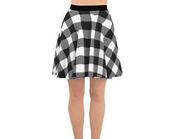 Black and White Buffalo Plaid Skater Skirt, Full Circle Skirt, Fit and Flare, Women's Skirt, Plus sizes, Regular sizes, Gift for her
