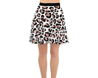 Rose Gold and Black Leopard Print Animal Print Skater Skirt, Circle Skirt, Full Skirt, Above the Knee, Plus Sizes