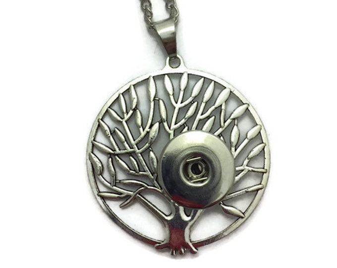 Snap Necklace, Snap Button Necklace, Snap Jewelry, Snap Charm Necklace, Tree Of Life Snap Necklace, Fits Ginger Snap Buttons, Snaps Jewelry