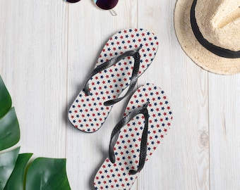 Red White & Blue Stars Unisex Flip-Flops, Thongs, Women's and Men's sizes, Summer Shoes, Patriotic, 4th of July, Gift for her, Sandals