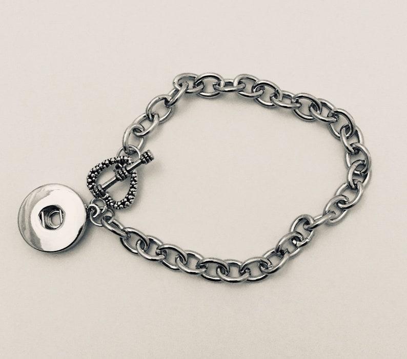 Snap Bracelet Silver Snap Bracelet Link Chain Snap Bracelet image 0