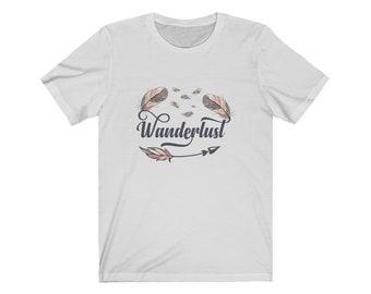 Wanderlust Boho Feathers Arrows, Travel, Adventure, Gift for her, Unisex Jersey Short Sleeve Tee,