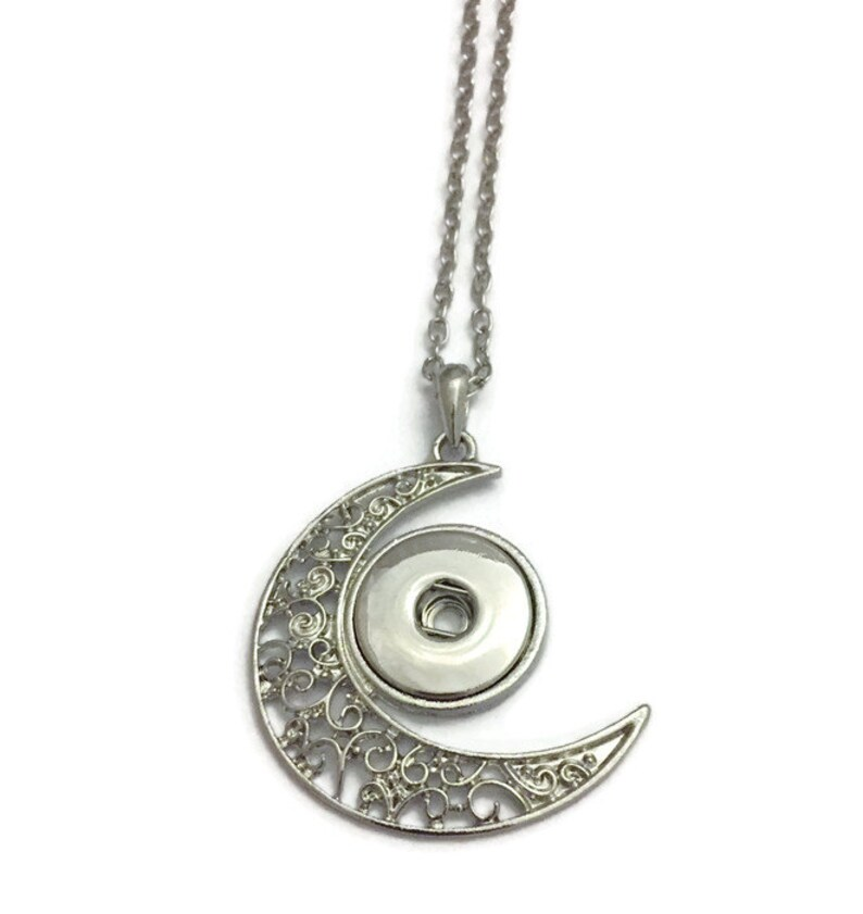 Snap Jewelry Snap Necklace Crescent Moon Snap Necklace image 0