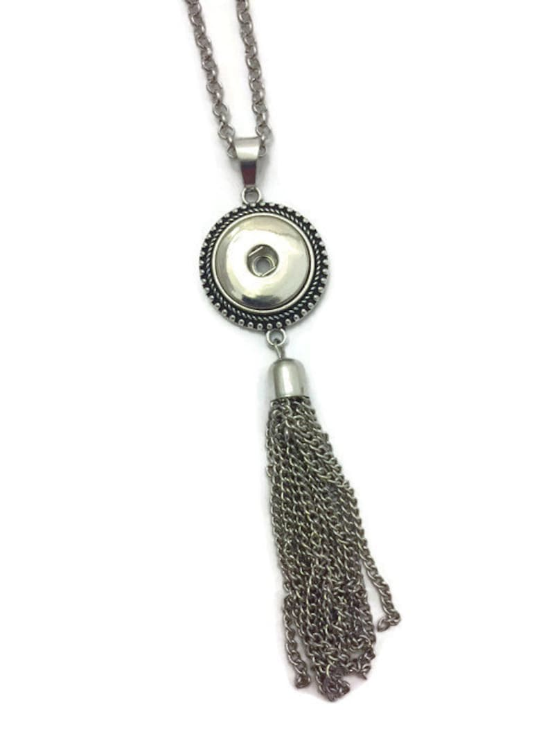 Snap Necklace Snap Jewelry Snap Tassel Necklace Snap Button image 0