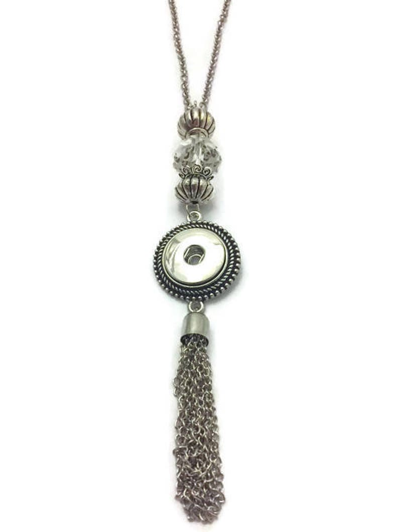 Snap Necklace Snap Jewelry Long Snap Tassel Necklace Snap image 0
