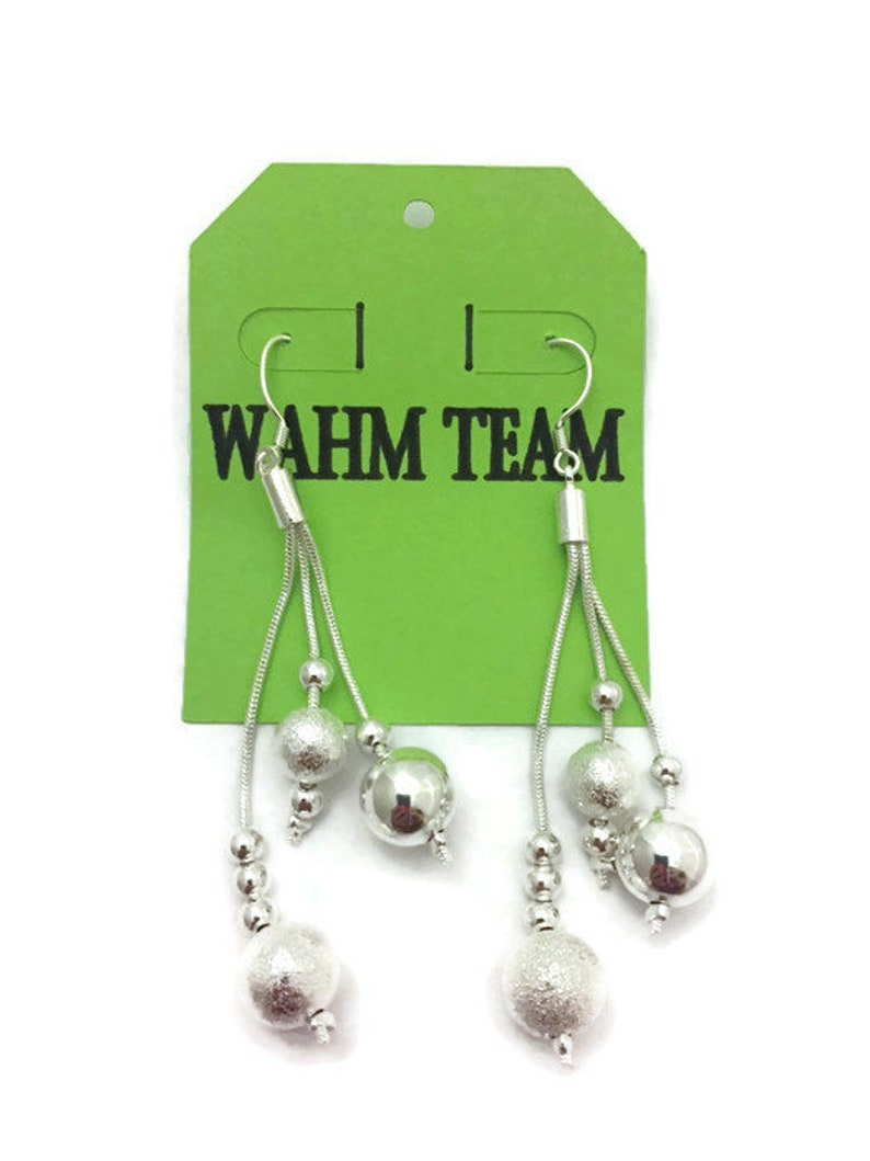 Silver Earrings Silver Dangle Earrings with Silver Beads image 0