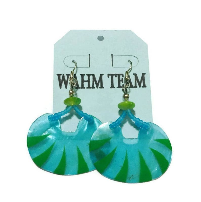 Shell Earrings Beaded Earrings Painted Shell Earrings image 0
