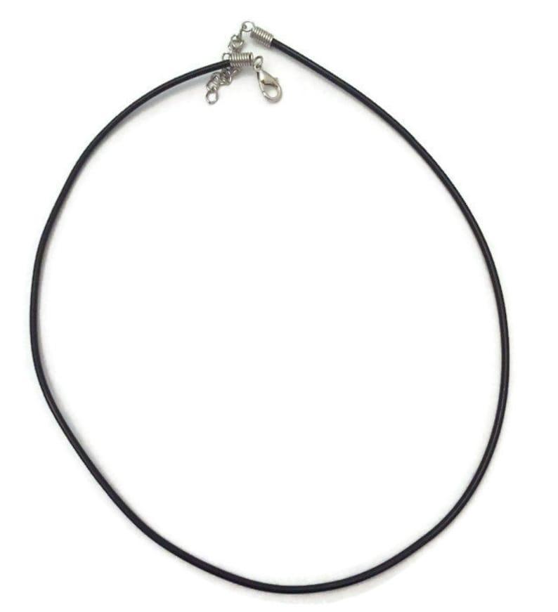 Black Faux Leather Cord Necklace Black Cord Necklace Black image 0