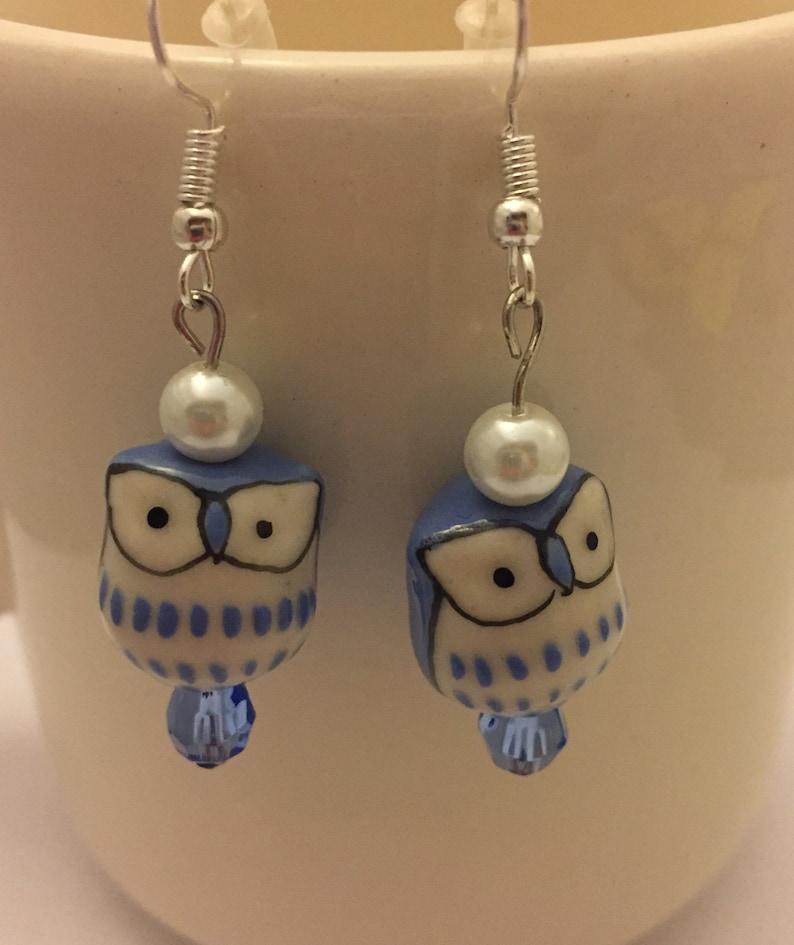 Owl Earrings Dangle Owl Earrings Drop Owl Earrings Blue Owl image 0