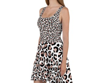 Rose Gold and Black Leopard Print Skater Dress, Sleeveless, Fit and Flare Dress, Plus Sizes, Animal Print