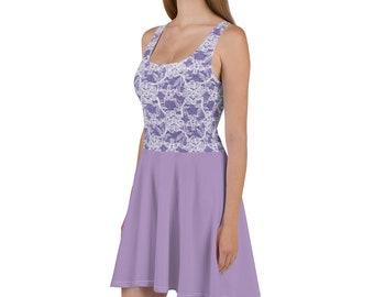 Purple Lace Skater Dress, Fit and Flare Dress, Sleeveless, Regular Sizes, Plus Sizes, Flattering