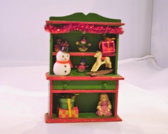 Mini Christmas Hutch - Green and red w/ rocking horse