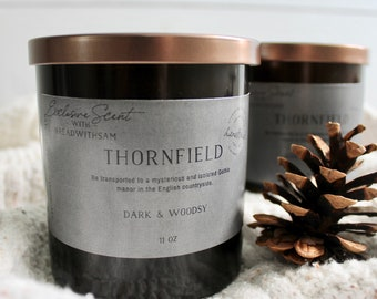 Thornfield Candle, Gothic Candle, Woodsy Candle, Bookish Candle, Bookish Inspired candle, Soy candle, Jane Eyre inspired candle, bookish