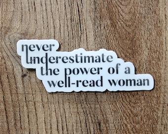Reading Sticker, Laptop Sticker, Sticker for Hydroflask, Waterproof Sticker, Power of a Well-Read Woman Sticker, Laptop Decal