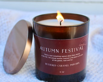 Autumn Festival, Caramel Buttered Popcorn, Fall Candle, Popcorn Candle, Stars Hollow, Gilmore Girls candle, soy candle, bookish candle